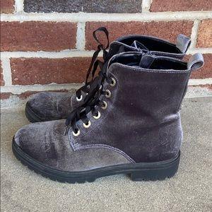 Mossimo Gray Velvet Combat Boots 7.5